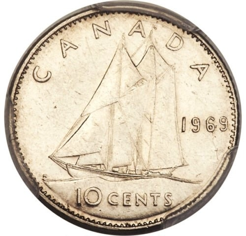 1969 Large Date 10 Cents