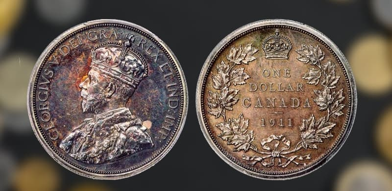 Two sides of 1911 Canadian Silver dollar