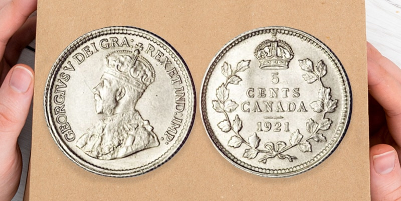Two sides of 5 Canadian cent of 1921 year