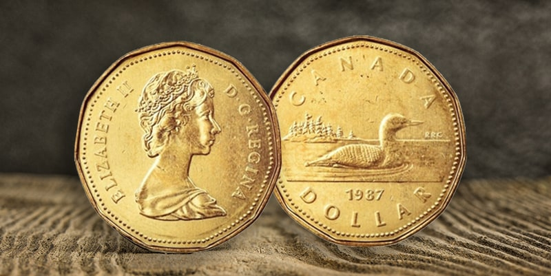 Two sides of golden loon dollar of 1987 year